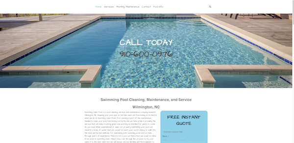 Pool cleaning website design in Wilmington, NC
