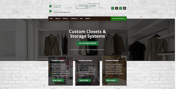 Custom Closet website designed with SEO by Local Top Three